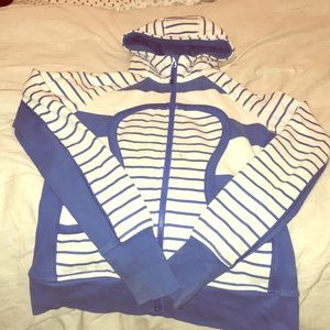 Striped blue and white lululemon scuba hoodie